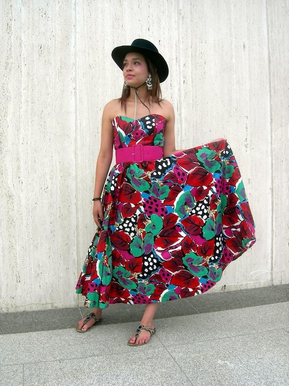 Vintage dress 1980s eighties flower theme