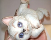 Adorable vintage cat on back figurine....wonderful blue eyes..1983 Enesco kitten