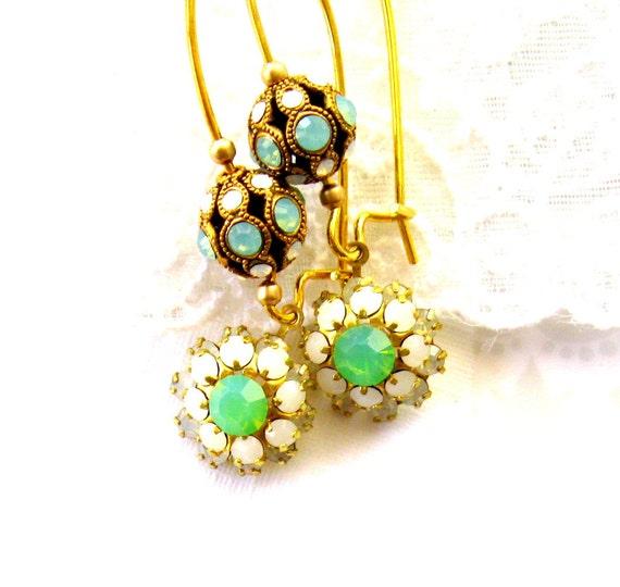 Opal Seafoam Green & White opal Earrings Crystal earrings FLOWER POWER Handmade earrings Swarovski filigree Vintage crystal