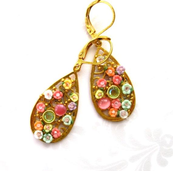 Flower filigree earrings pastel floral ITTYBITTY FLOWER COMMITTEE Gold plated filigree Handcrafted earrings Dangle earrings
