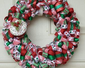 Cupcake Christmas Wreath Ribbon Wreath Holiday Wreath Home Decor Door Wreath Holiday Decor