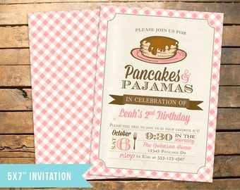 Pancakes and PJs Pajamas Birthday Invitation PLUS Thank You Note