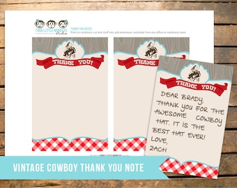 Cowboy Baby Shower Thank You Note. Instant Download!