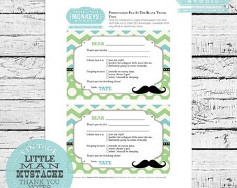 Personalized Little Man Mustache Thank You Note