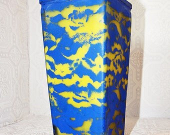 Reclaimed  Lemon Yellow & Colbalt Blue Hand Painted Distressed Shabby Chic Lace pattern Vase