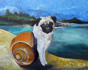 "Pug Art Print of an original oil painting /  ""A Tale About The Tail That Formed Inside A Snail""/ 8 x 10 / Dog Art"