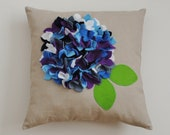 CLOSING DOWN SALE. Cushion ,Throw pillow ,Pillow, Linen with felt  Hydrangea flowers. Ready to ship.