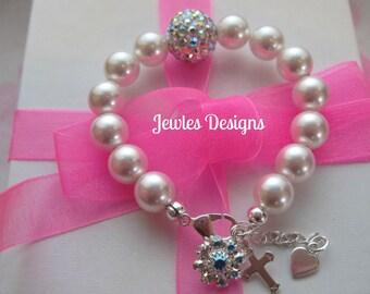 Infant Jewelry SWAROVSKI  Baby bracelet, Baptism, flower girl, christening,communion, baby gift ideas by JewlesDesigns on etsy