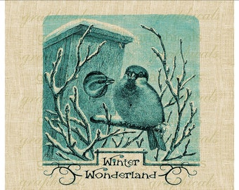 Aqua birds winter birdhouse instant clip art Graphic download for iron on fabric transfer papercraft burlap tote bags pillows No. 412