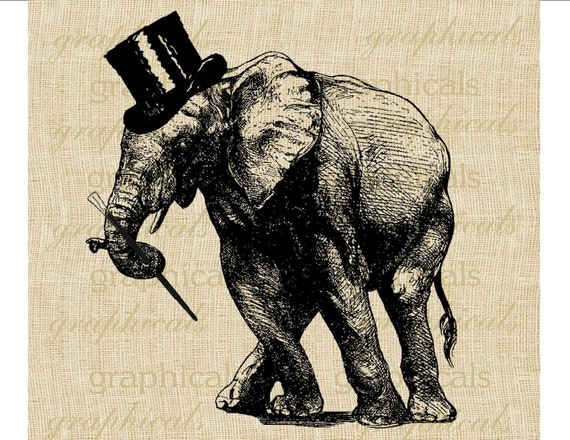 Dancing elephant  top hat cane instant digital download image for transfer to fabric paper tote bag burlap decoupage  t shirt pillow No. 394