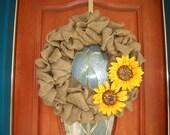 Fall Sunflower and Burlap Wreath