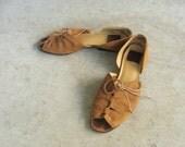 Cognac Leather Lace Up Sandals sz 7 7.5