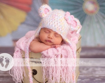 Baby Girl Hat - Sweet Baby Bear Hat - Beautiful Pastel Colors and Soooo Soft - Bear has Earflaps & Ties and Flower Clip