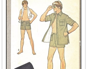 SIMPLICITY Pattern 8992 - Men's Safari-style Lined Shirt/Jacket & Shorts/Trunks - Sz 42 W36 - Vintage 1970s