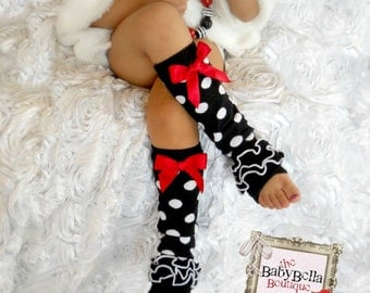 Legwarmers Polka dots  with ruffles and red bow, Girls Leg Warmers ,Ready to ship.