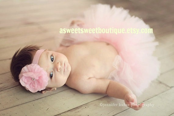 Angel Kiss Tutu Pale Pink Couture Tutu With Matching Flower Headband From The Sweet Sweet Couture Collection  Gorgeous Newborn Photo Prop