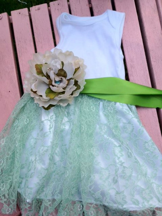 Sea Foam Green hand dyed lace Shabby Chic Infant Summer Tutu Onesie Dress Baptism vintage inspired flower girl summer dress EtsyKids Team