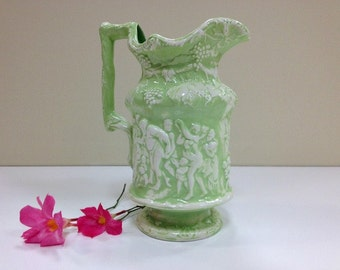 Ceramic Vase Pitcher Green and White Antiquity