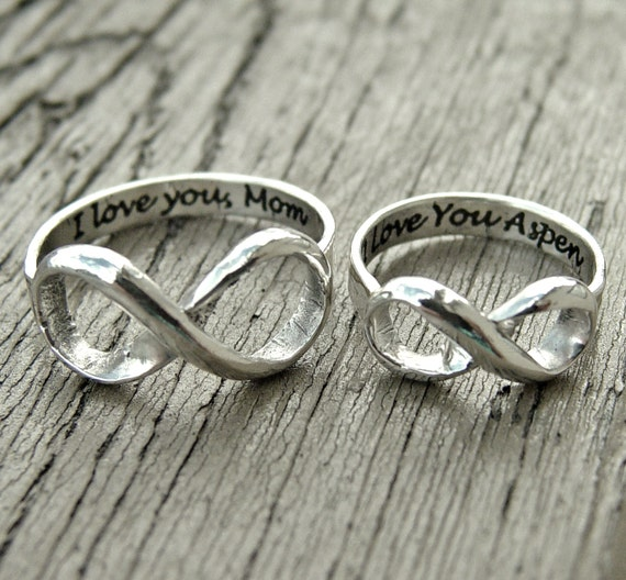 Infinity ring engraved silver custom message for two his for L love jewelry reviews