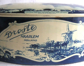 Vintage Droste Haarlem Holland Tin in Delft Blue Design, Candy Bowl/Dish. FREE SHIPPING