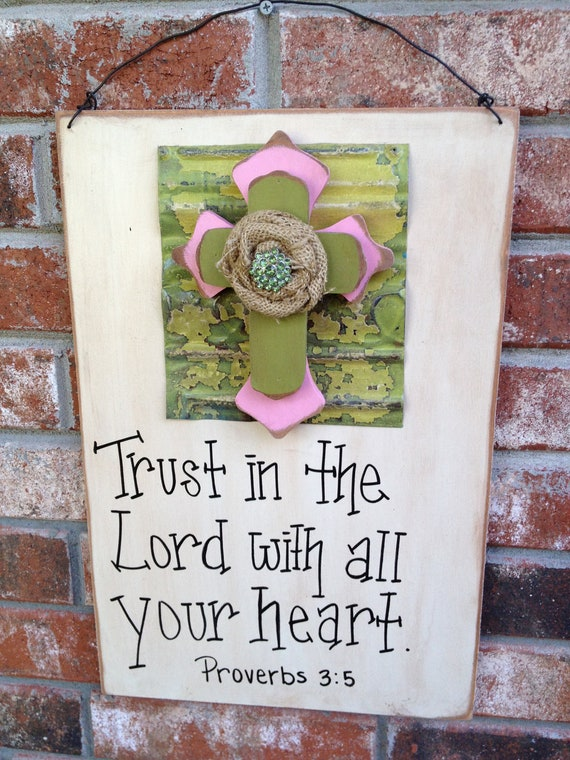 Rustic Wood and Metal Scripture Sign Home Decor
