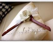 Wedding Dress Hanger with Burlap Flower - Cherry Finish Custom Bridal Hanger