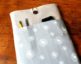 13 inch laptop Macbook Mac book Pro or Macbook Air Cover Padded Case Sleeve - Linen with Grey White Dandelion Fabric Pocket