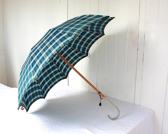 Vintage Umbrella with Lucite Handle, Blue Plaid Umbrella, Vintage Accessories, Fall, Winter