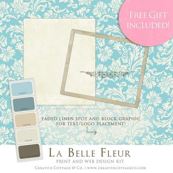 Marketing Design Kit- La Belle Fleur Collection Vintage Damask Scrapbook