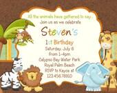 Zoo Jungle Birthday Invitation - Jungle Animals - Custom and Printable
