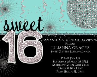 Sweet 16 Invitation - Sweet Sixteen Birthday Invite - Printable Turquoise Blue Party Invitation