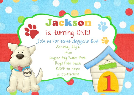puppy birthday invitation puppy party invite puppy by peasprints, Party invitations