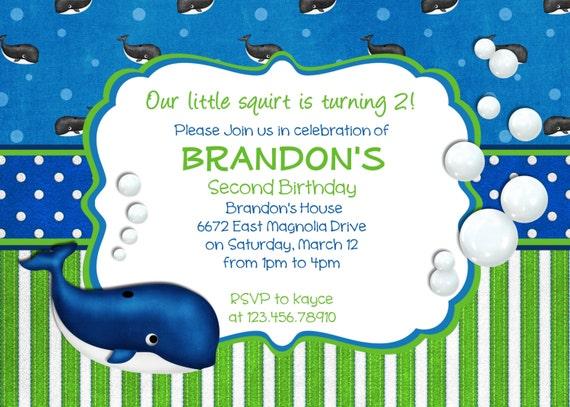 Preppy Whale Birthday Invitation