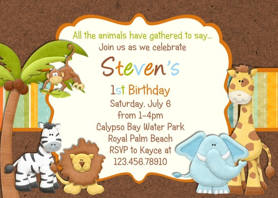 Baby Shower Invitations Jungle Theme with awesome invitation layout