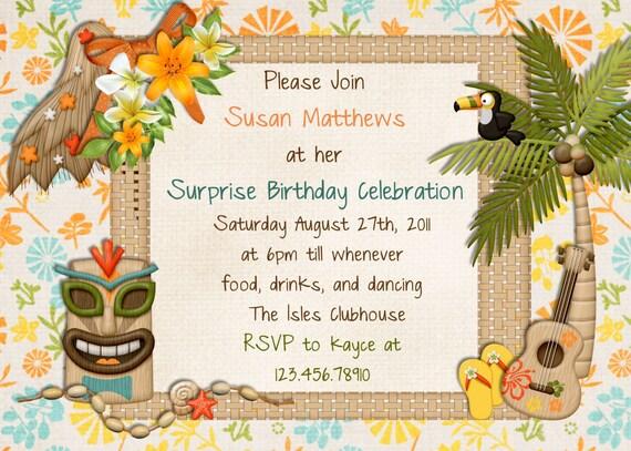 hawaiian party invitations – gangcraft, Party invitations