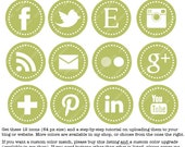 Round Web & Blog Buttons: Set of 12 Social Media Buttons Customized to your Blog