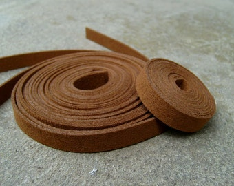 5 Yds(450 cm or 15Ft)  Acorn Brown -5 of 900X10mm Faux Suede Lace Straps-(FS10-28)
