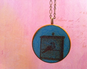 Caged Bird in Blue: Wood Pendant Necklace // Antique Brass Long Chain // Gift for Her
