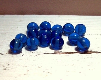 Vintage Blue Glass Rounds - 10mm - (15)