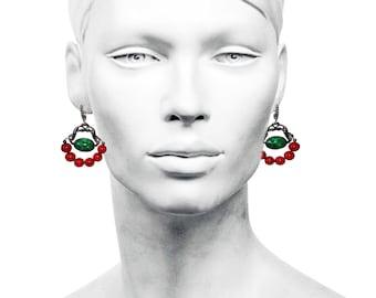 Beautiful Blackened Silver Coral Earrings