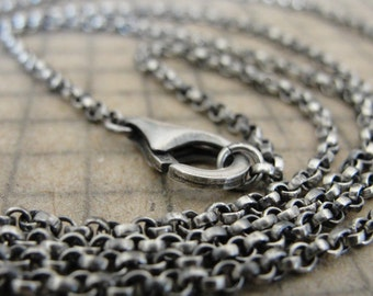 Sterling Silver rollo chain 36 inch long necklace (2.1mm) antique style oxidized for RQP Studio wax seal jewelry