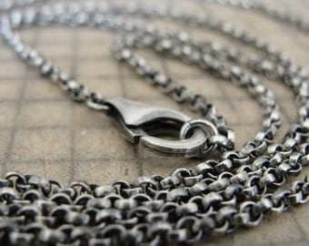 Sterling Silver rollo chain 30 inch long necklace (2.1mm) antique style oxidized for RQP Studio wax seal jewelry