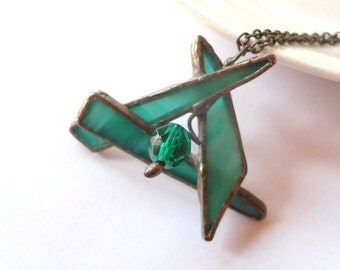 Stained glass pendant, contemporary jewelry, anniversary gift, emerald green pendant, bohemian jewelry, statement necklace, Soulflower