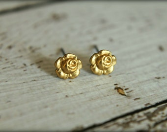 Tiny Rose Earring Studs in Raw Brass - 7mm, Stainless Steel Posts