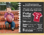 Football Birthday Invitation with Photo-Your Choice of Colors