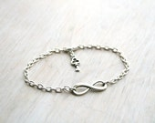 Infinity Vintage bracelet / anklet  Silver chain Tibetan victorian key. Ready to ship Infinity symbol. Choose color
