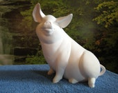 "Charlotte, 10"", Pig farm, Large Pig, Sitting pig, Farm Animal, Piggy Bank, Ready to paint, u-paint, Ceramic bisque"