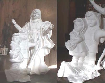 Guardian Angel, Hansel and Gretel, Guardian of Children,  Angel with Children, Christmas decoration, Ready to paint, u-paint, ceramic bisque