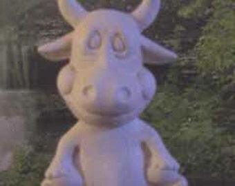 Adorable,Cow Nodder, cow Bobble head,Farm Animal, Dashboard decoration, Ready to paint, u-paint, ceramic bisque