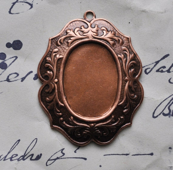 25mm X 18mm copper ox cameo setting